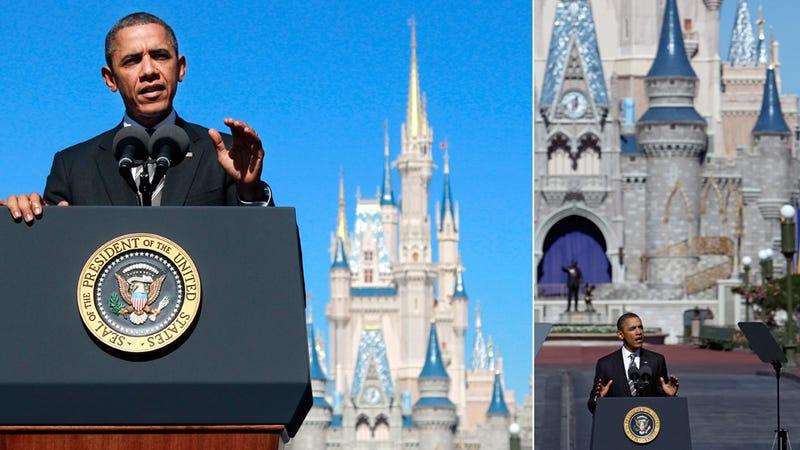 President Obama Conquers Cinderella's Castle