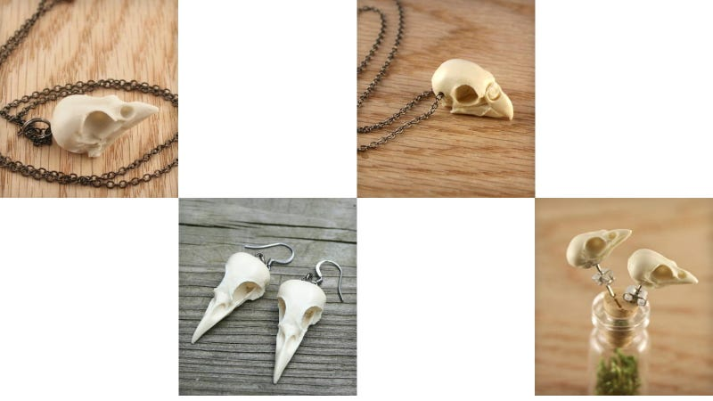 Bird Skull Jewelery for Ornithological Fashionistas
