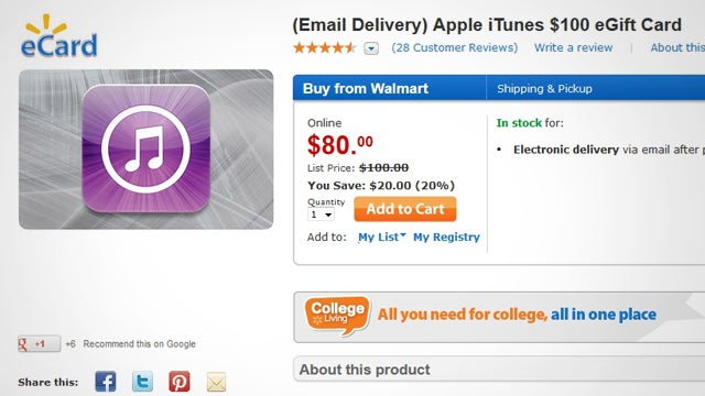 Grab a $100 iTunes Gift Card for $20 Off