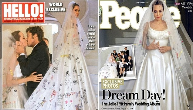 Angelina Jolie's Wedding Outfit Had Her Kids' Scribbles All Over It