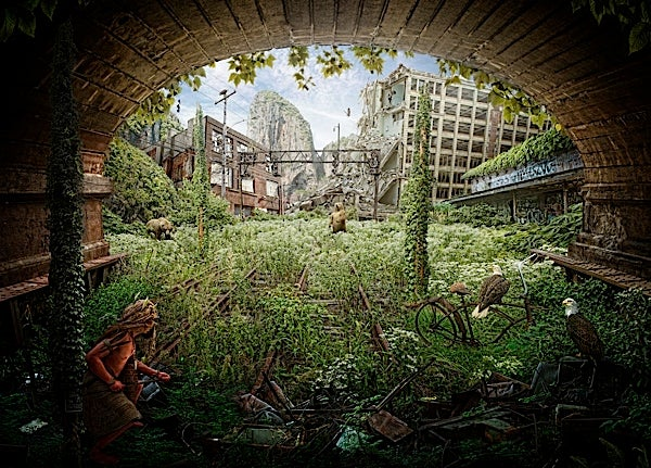 Serene images of a lone human traveling through the overgrown post-apocalypse