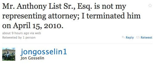 Jon Gosselin Announces His Legal Matters Are Private, On Twitter
