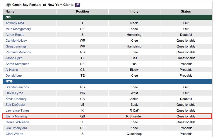 Elisha Manning, QB, New York Giants