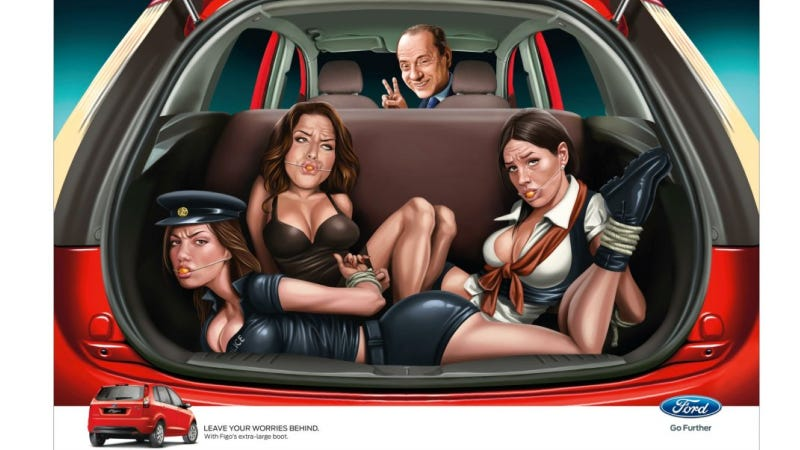Ford Apologizes For Ad Showing Silvio Berlusconi With A Trunk Full Of Bound-And-Gagged Strippers