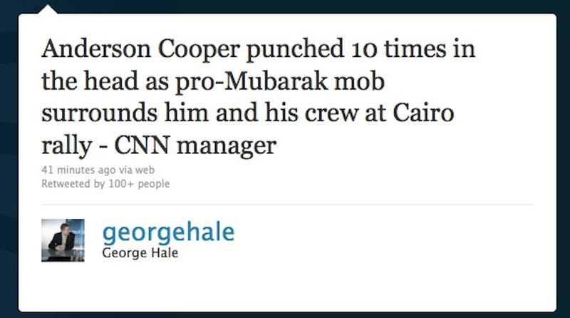Anderson Cooper Just Got Beat Up By Pro-Mubarak Thugs in Cairo