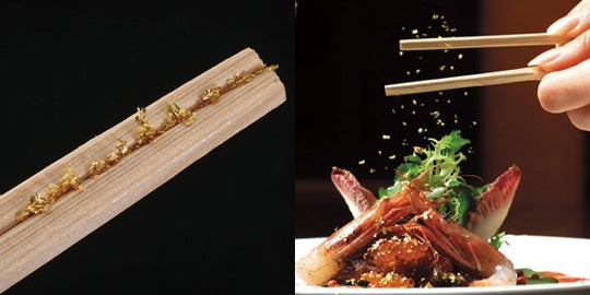 Gold Flake Chopsticks Make Your Yaki Udon Glittery, Wasteful