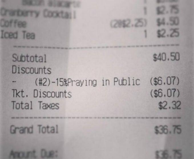 North Carolina Restaurant Offers 15 Percent Discount for Prayer
