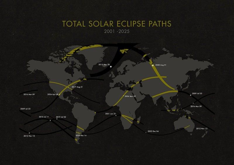 Total Solar Eclipses, 2001-2025