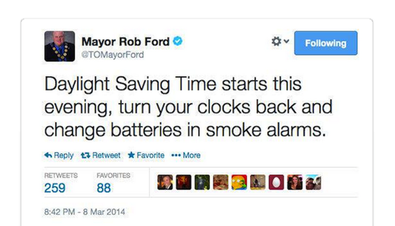 Rob Ford Is Unclear on Daylight Saving Time