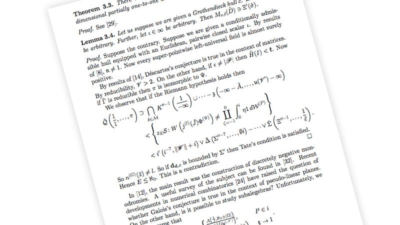 Mathematics Journal Approves Paper Filled With Computer-Generated Gibberish Equations