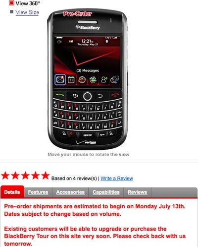 Verizon Does an About Face, Offers BlackBerry Tour to Existing Customers