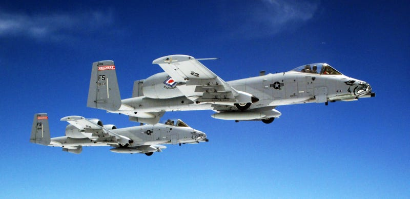 These A-10 Warthogs look like perfect miniatures but they are real