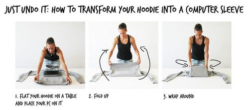 Turn a Hoodie into an Improvised Laptop Bag