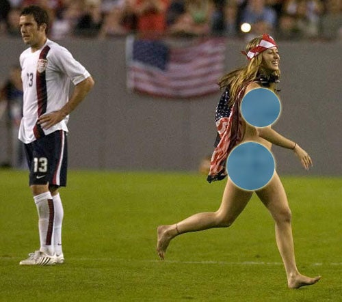 Female 'Streaker' Interrupts Soccer Game, Raises Soccer Game Awareness