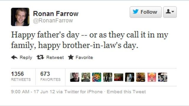 Boom: Ronan Farrow Roasts Estranged Dad Woody Allen with Father's Day Tweet