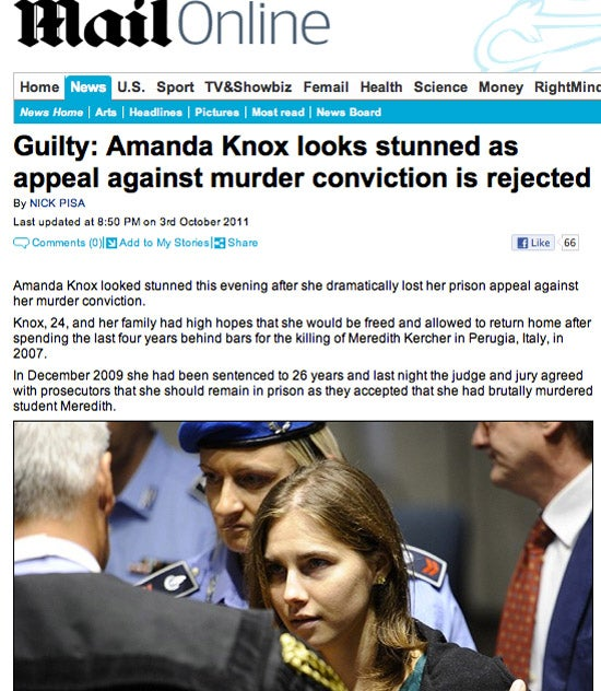 Daily Mail Publishes Wrong Knox Verdict
