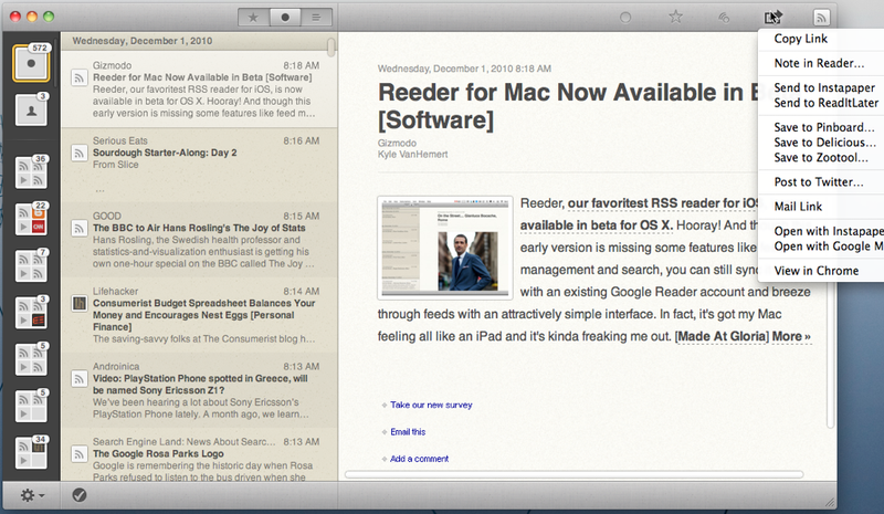 Reeder for Mac Beta Brings Slick Feed Reading to Desktops