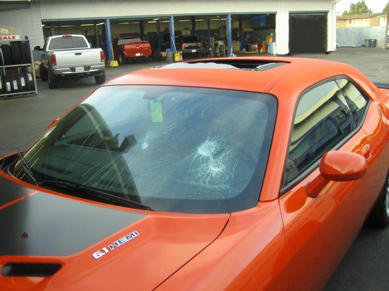 Wife Smashes Soon-To-Be-Ex-Husband's Challenger SRT8 With Hammer