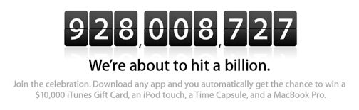 Apple Counts Down Up to 1 Billion Apps: Win $10,000 iTunes Gift Card, MacBook Pro and More