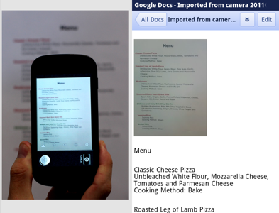 Google Docs Brings Native App with Editing, Optical Character Recognition to Android
