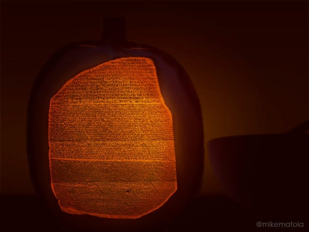 An artist carved the entire rosetta stone on a pumpkin