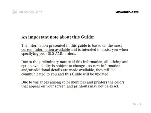 Leaked AMG Mercedes SLS Dealer Guide Details Extravagant Options