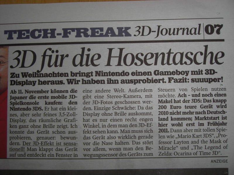 Report: German Paper Dates Nintendo 3DS