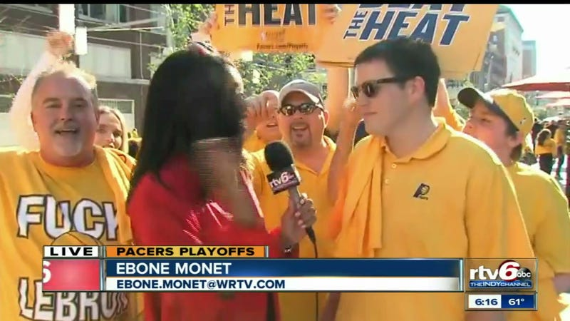 """Pacers Post-Game Live Shot Features Dude In """"Fuck LeBron"""" T-Shirt"""