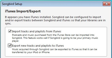 Songbird 1.2 Integrates into iTunes and iPods