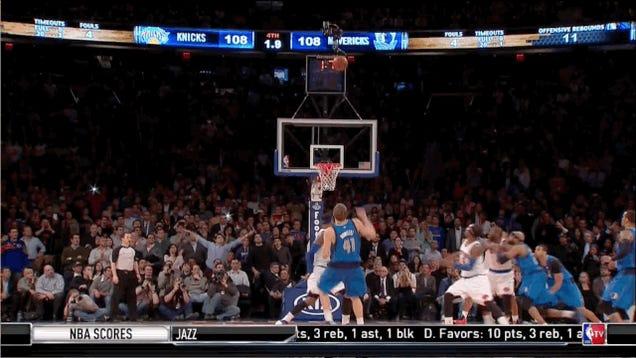 Dirk Nowitzki And Poor Fan Combine For Definitive Knicks GIF