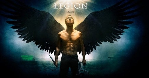 Legion's Shirtless Tatooed Angel Wields Both A Gun And A Knife