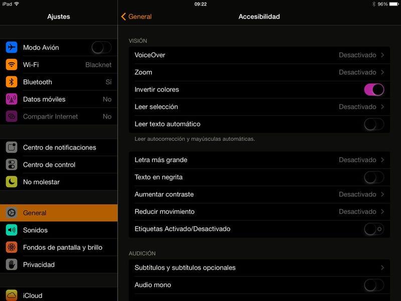 Invierte los colores del iPhone para leer mejor en la oscuridad