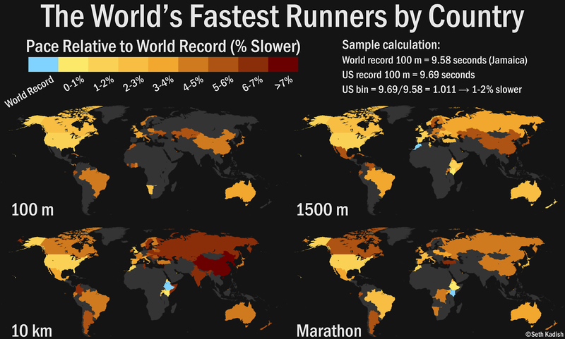 Map: Which Countries Have The Slowest Elite Runners?