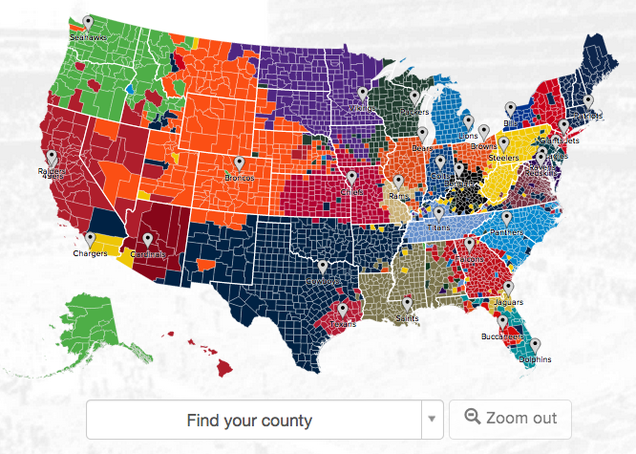 NFL Fans By U.S. County, According to Twitter