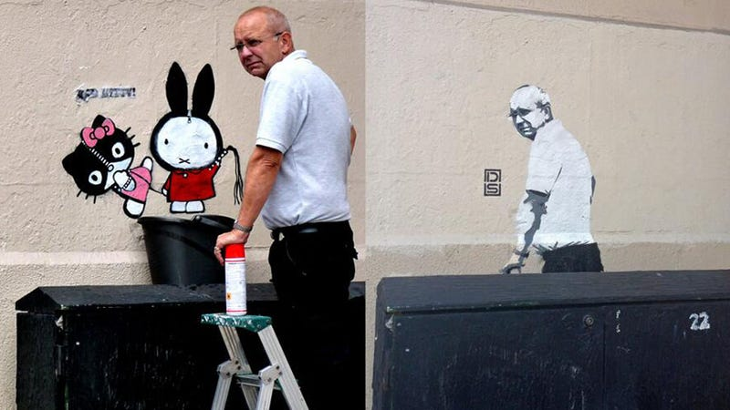 Street Artist Replaces Erased Work With Stencil of Guy Who Erased It