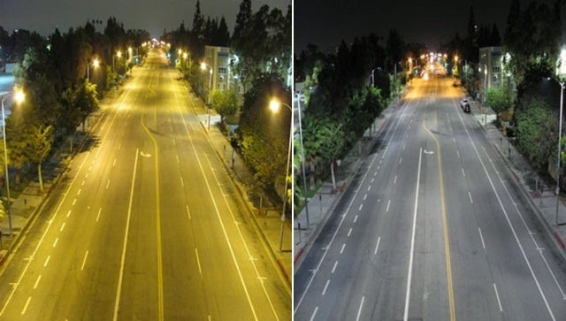 Difference in LED vs. high-pressure sodium streetlights.