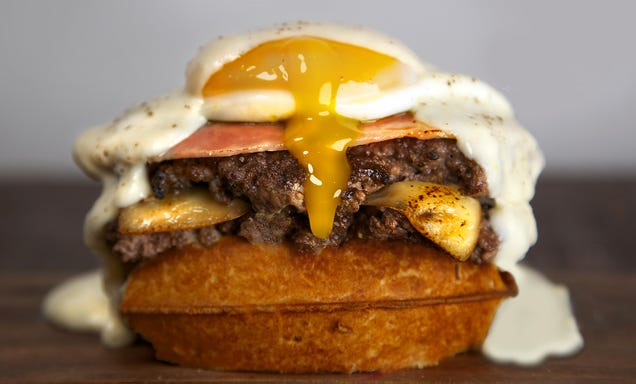 This decadent burger/croque-madame hybrid is all the food I want today