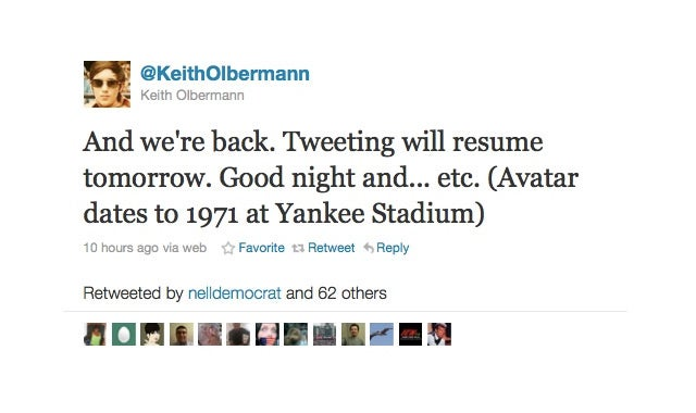 You Didn't Really Think Keith Olbermann Was Going to Shut Up, Did You?