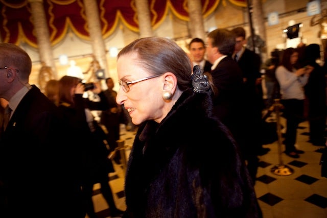 Ruth Bader Ginsburg Slides Down Emergency Chute To Safety