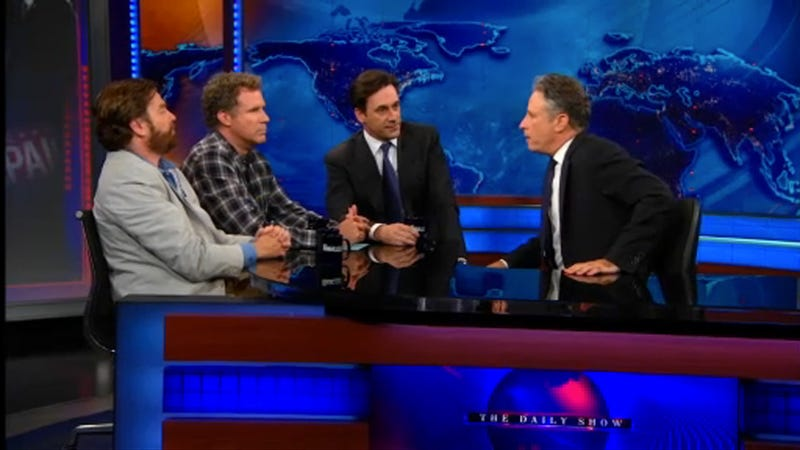 Jon Hamm Teams Up with Will Ferrell and Zach Galifianakis to Drop the Hammer on Jon Stewart