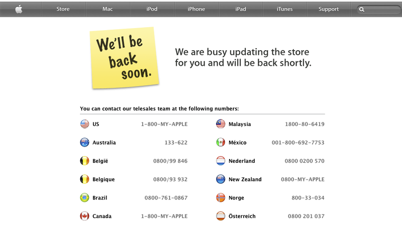 The Apple Store Is Down: New Stuff Imminent