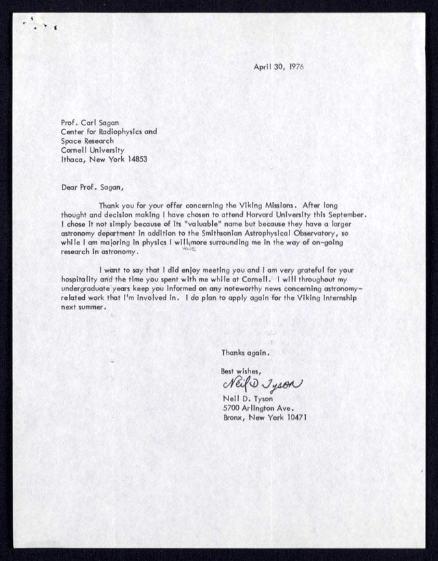 Here's a 1976 letter from Neil deGrasse Tyson to Carl Sagan