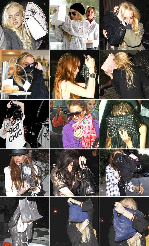 A Compendium of Photos of Lindsay Lohan Hiding Behind Her Purse
