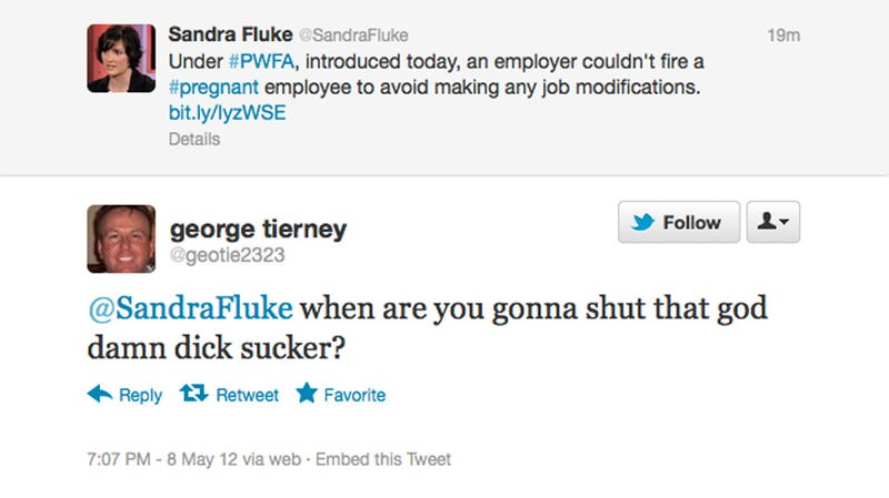 Unintelligent Male Attacks Sandra Fluke on Twitter, Wants His Name Magically Scrubbed From Google