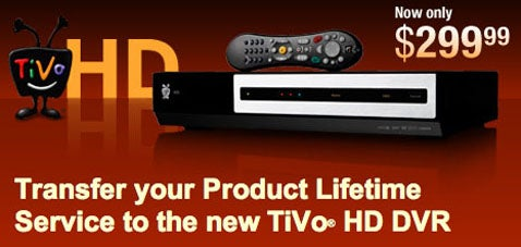 TiVo HD Lifetime Service Transfer: $199 For a Limited Time