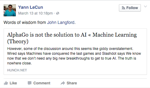 Facebook Nerd Throws Heavy Shade at Google Over AlphaGo Victories