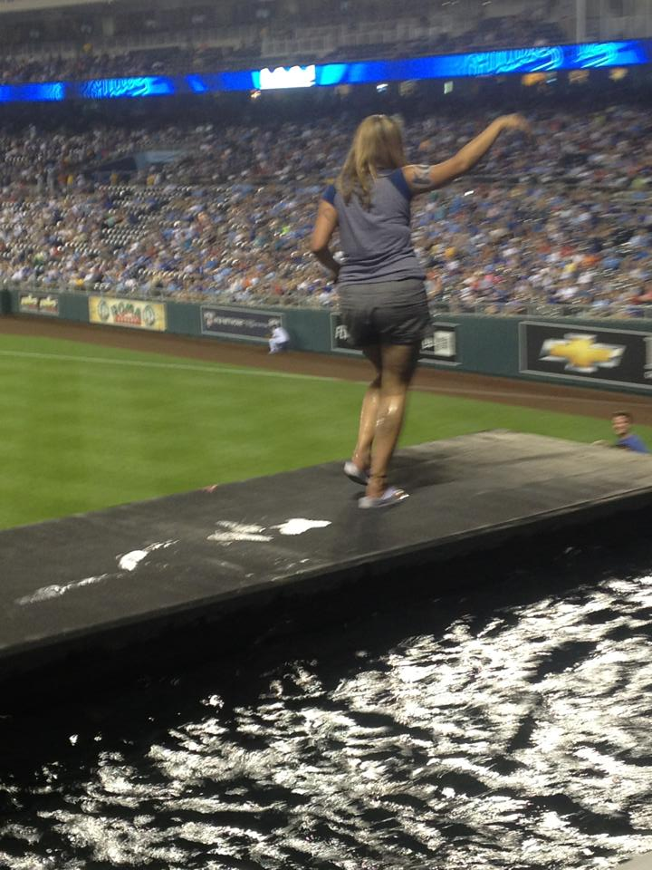 Lady Goes For A Stroll Through The Kauffman Stadium Fountain