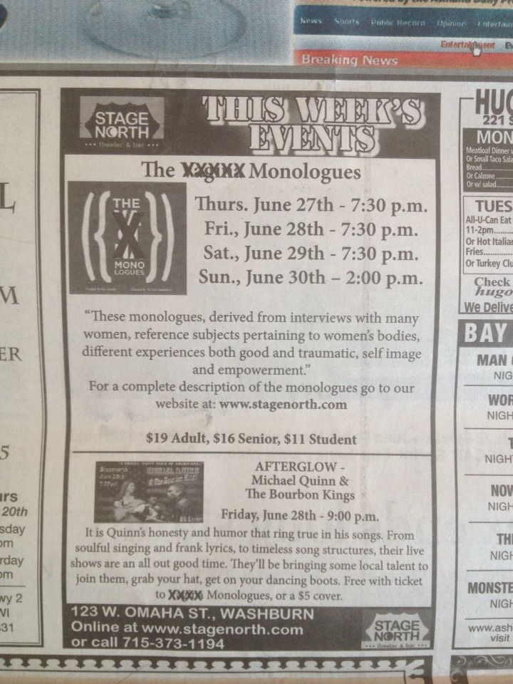 Newspaper Censors the Word 'Vagina' in Vagina Monologues Ad