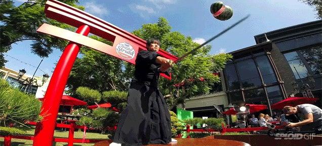 Guy slices up flying fruit with a katana like a real life Fruit Ninja