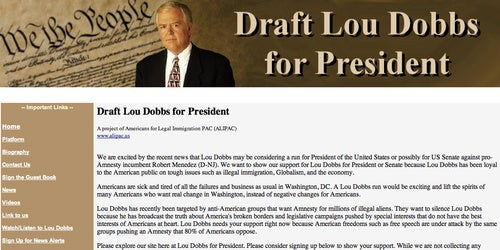 People Who Hate Immigration Already Fundraising for Lou Dobbs' Presidential Campaign